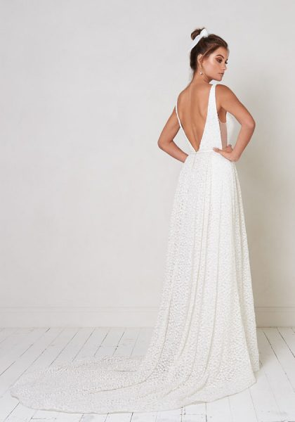 Sleeveless V-neck A-line Wedding Dress With Beading Details by Jane Hill - Image 2