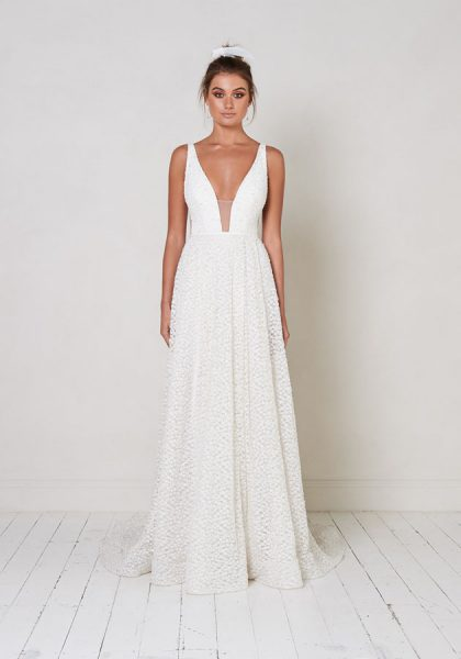 Sleeveless V-neck A-line Wedding Dress With Beading Details by Jane Hill - Image 1