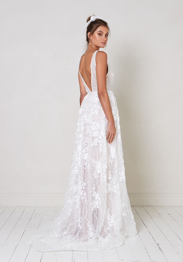Sleeveless V-neck A-line Wedding Dress With Floral Appliqués by Jane Hill - Image 2
