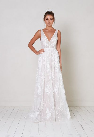 Sleeveless V-neck A-line Wedding Dress With Floral Appliqués by Jane Hill
