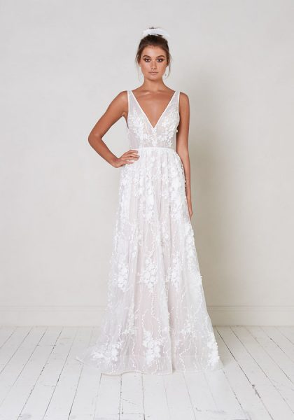 Sleeveless V-neck A-line Wedding Dress With Floral Appliqués by Jane Hill - Image 1