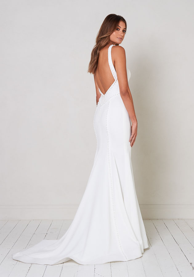 Sleeveless V-neck Fit To Flare Wedding Dress With Pearl Detailing. by Jane Hill - Image 2
