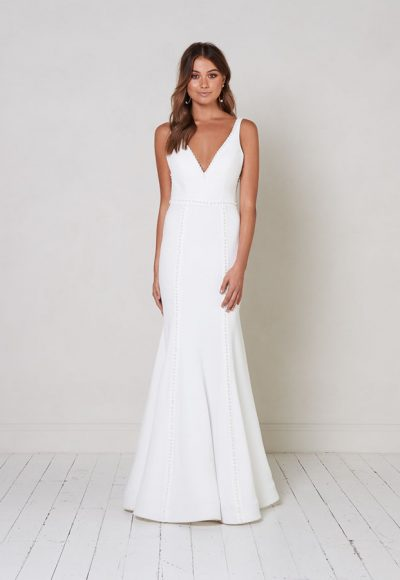 Sleeveless V-neck Fit To Flare Wedding Dress With Pearl Detailing. by Jane Hill