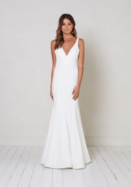 Sleeveless V-neck Fit To Flare Wedding Dress With Pearl Detailing. by Jane Hill - Image 1