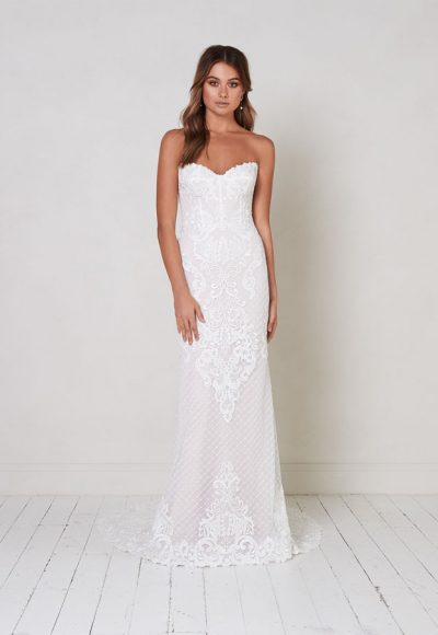 Strapless Fit To Flare Lace Wedding Dress. by Jane Hill