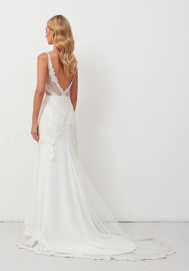 V-neckline Sheath Lace Wedding Dress by Jane Hill - Image 2