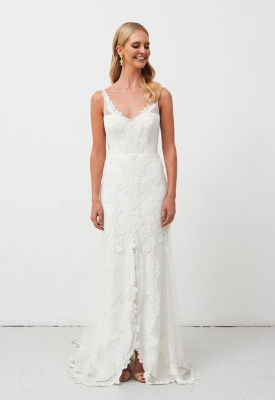 V-neckline Sheath Lace Wedding Dress by Jane Hill
