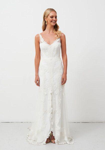 V-neckline Sheath Lace Wedding Dress by Jane Hill - Image 1