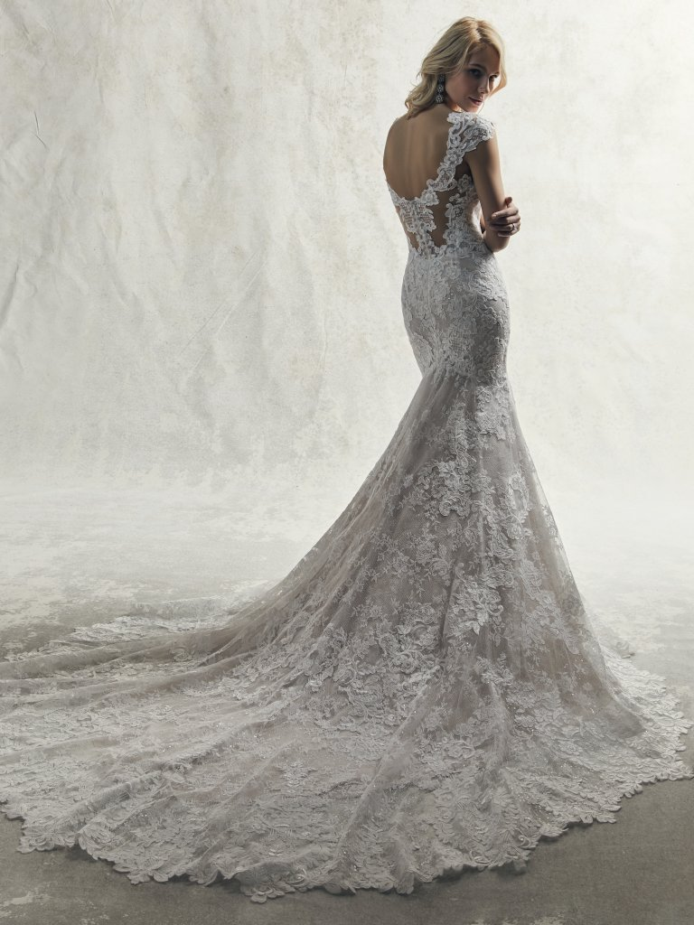 e8dde628628 Fully Lace Cap Sleeve V-neck Fit And Flare Wedding Dress