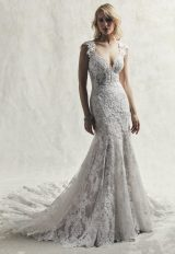 Fully Lace Cap Sleeve V-neck Fit And Flare Wedding Dress by Maggie Sottero - Image 1