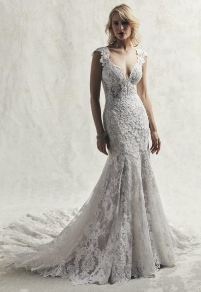 Fully Lace Cap Sleeve V-neck Fit And Flare Wedding Dress by Maggie Sottero