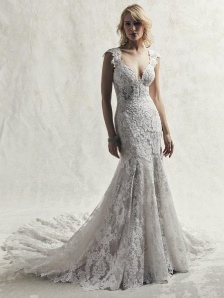 8bb9080d1651 Fully Lace Cap Sleeve V-neck Fit And Flare Wedding Dress by Maggie Sottero -