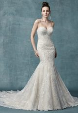 Spaghetti Strap Sweetheart Neck Bodice Beaded Fit And Flare Wedding Dress by Maggie Sottero - Image 1