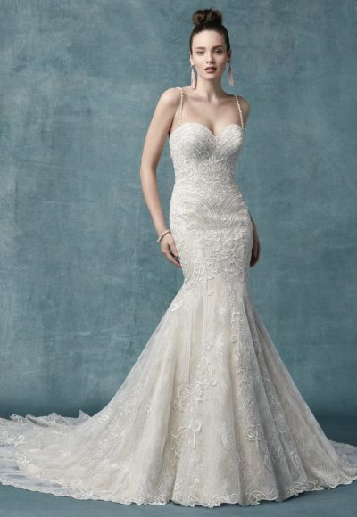 Spaghetti Strap Sweetheart Neck Bodice Beaded Fit And Flare Wedding Dress by Maggie Sottero