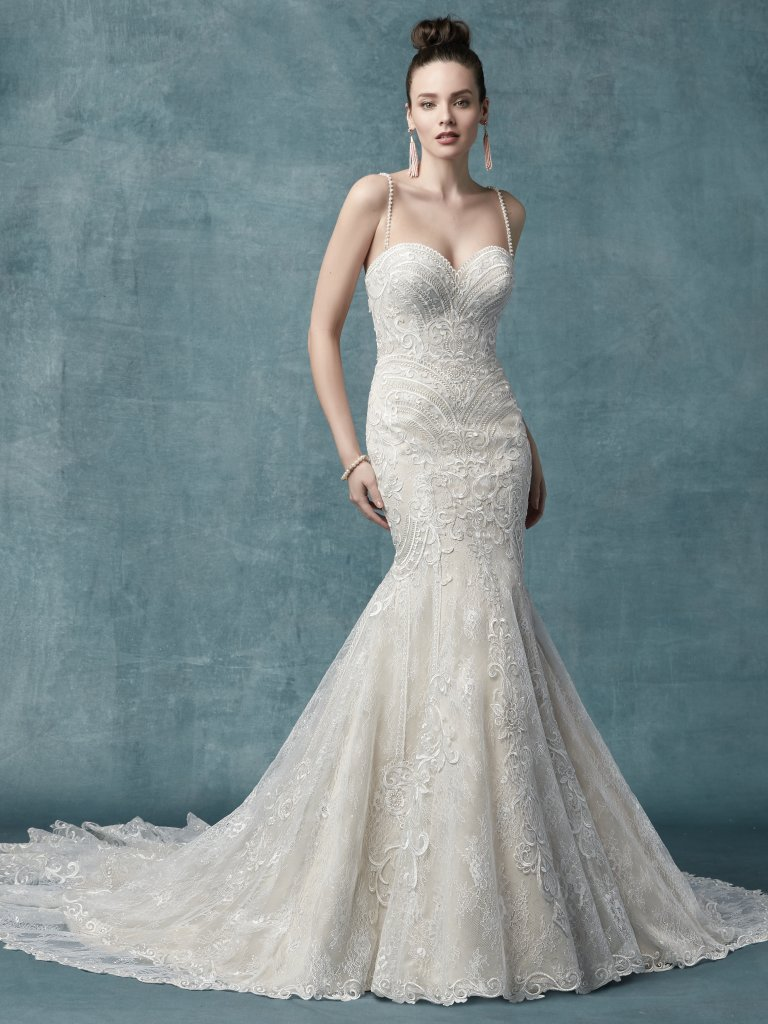 54542936f83 Spaghetti Strap Sweetheart Neck Bodice Beaded Fit And Flare Wedding Dress