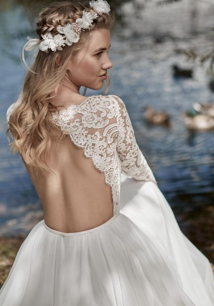 Long Sleeve A-line Wedding Dress by Maison Signore - Image 2