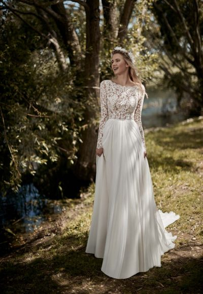 Long Sleeve A-line Wedding Dress by Maison Signore