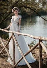V-neck Lace Bodice A-line Wedding Dress by Maison Signore - Image 1