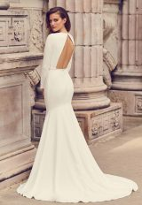 Long Sleeve Open Back Crepe Fit And Flare Wedding Dress by Mikaella - Image 2