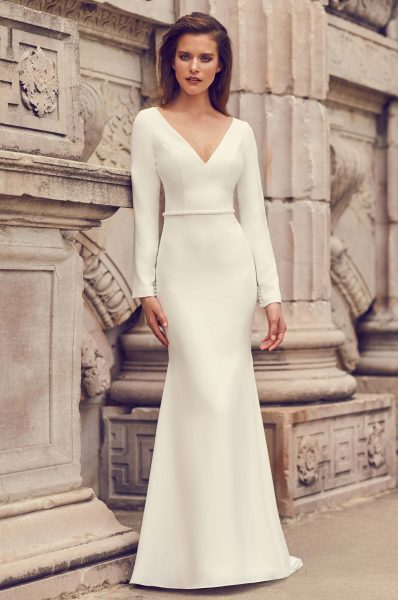 Long Sleeve Open Back Crepe Fit And Flare Wedding Dress by Mikaella - Image 1