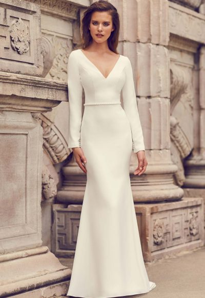 Long Sleeve Open Back Crepe Fit And Flare Wedding Dress by Mikaella