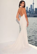 Halter Top Crepe Open Back Fit And Flare Wedding Dress by Paloma Blanca - Image 2