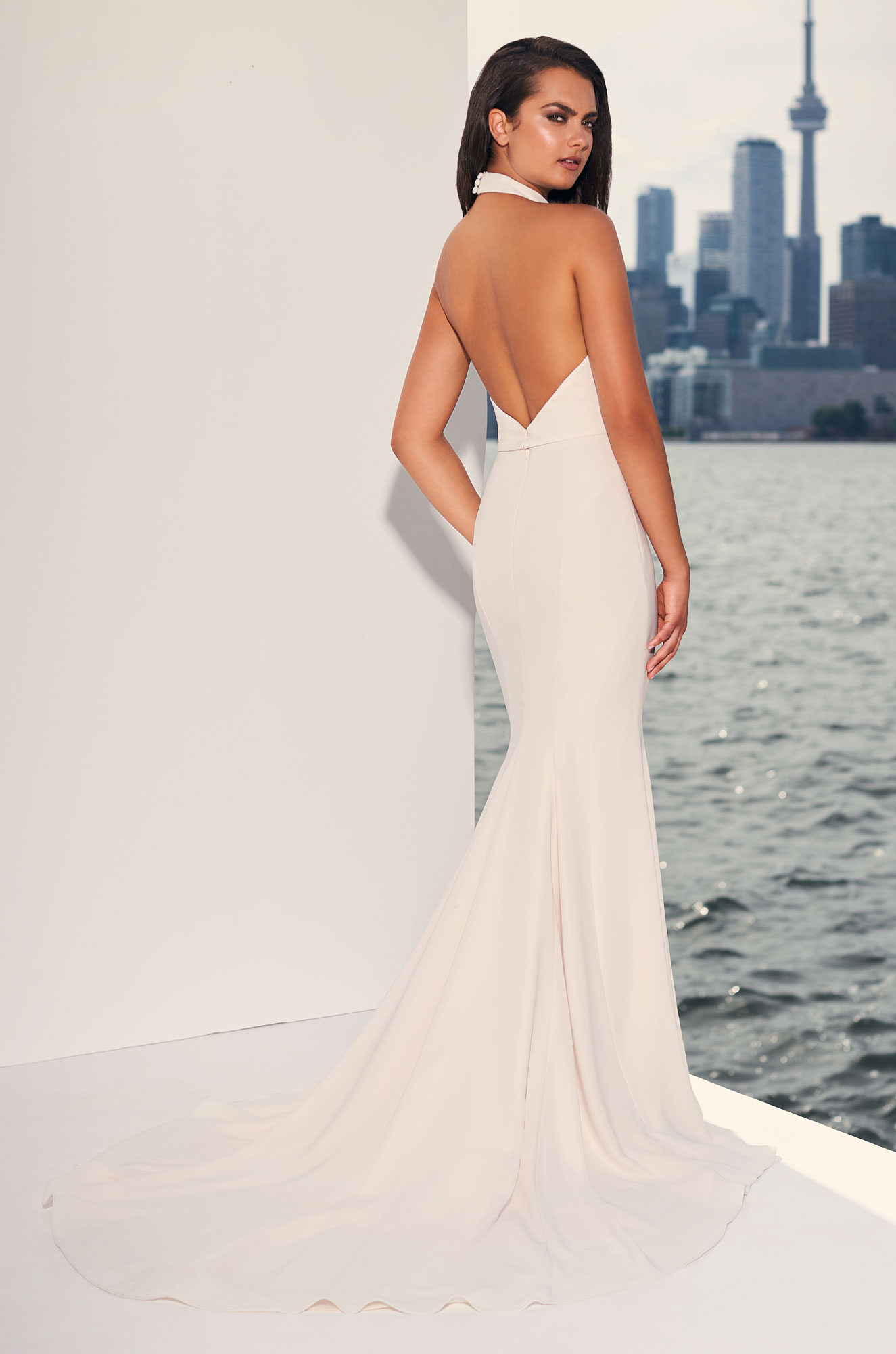 Halter Top Crepe Open Back Fit And Flare Wedding Dress Kleinfeld Bridal