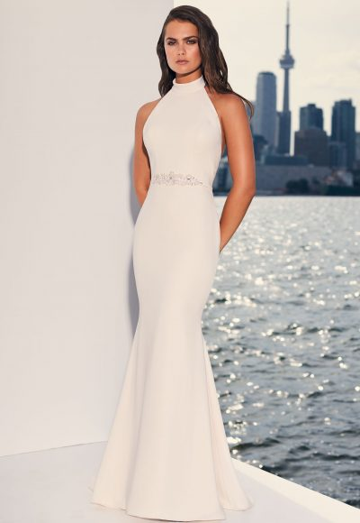 Halter Top Crepe Open Back Fit And Flare Wedding Dress by Paloma Blanca