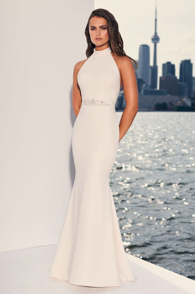 Halter Top Crepe Open Back Fit And Flare Wedding Dress by Paloma Blanca - Image 1
