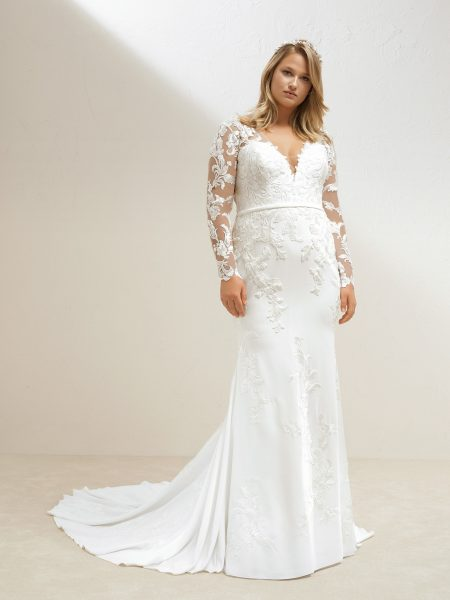 e1fd4679075 Long Sleeve Crepe Sheath Wedding Dress by Pronovias - Image 1