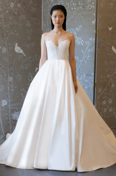 Strapless Lace Bodice Ball Gown Wedding Dress by Romona Keveza Collection - Image 1