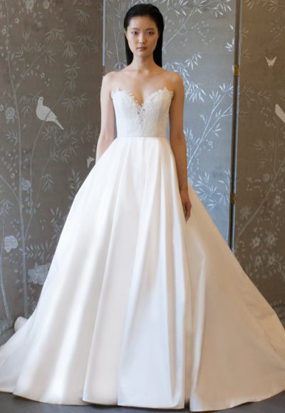 Strapless Lace Bodice Ball Gown Wedding Dress by LEGENDS Romona Keveza