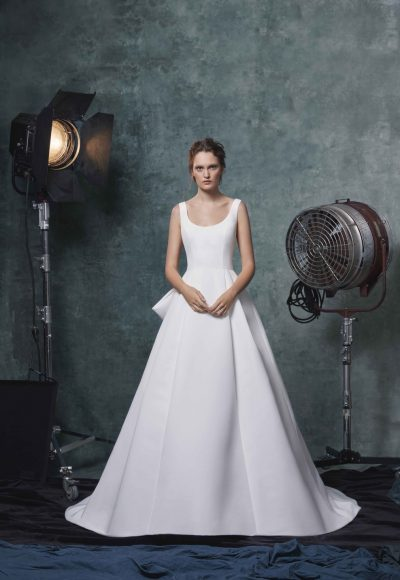 Simple Sleeveless Scoop Neck Ballgown Wedding Dress by Sareh Nouri