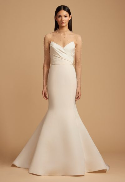Fit And Flare Silk Strapless Gown With Illusion Sleeves. by Allison Webb