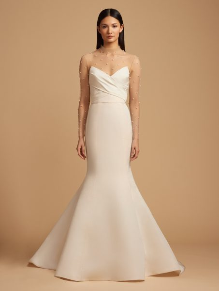 Fit And Flare Silk Strapless Gown With Illusion Sleeves. by Allison Webb - Image 1