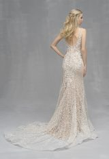Beaded Lace V-neck Sheath Wedding Dress by Allure Bridals - Image 2