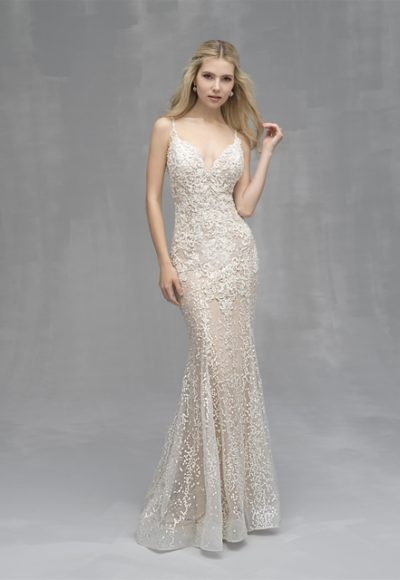 Beaded Lace V-neck Sheath Wedding Dress by Allure Bridals