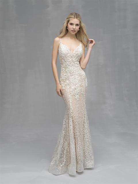 Beaded Lace V Neck Sheath Wedding Dress Kleinfeld Bridal