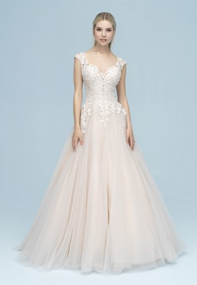 Lace Bodice Tulle Skirt Ball Gown Wedding Dress by Allure Bridals