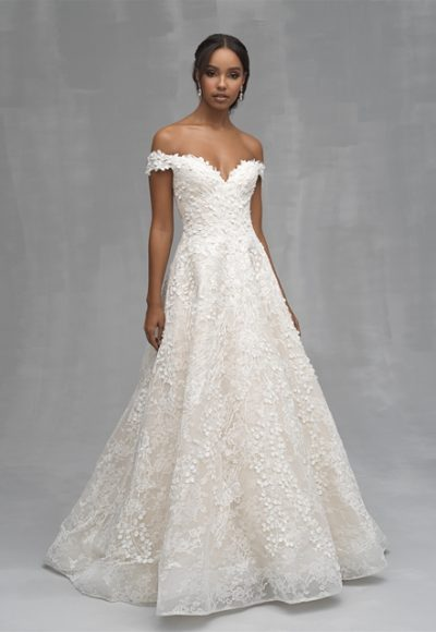 Off The Shoulder Floral Applique A-line Wedding Dress by Allure Bridals