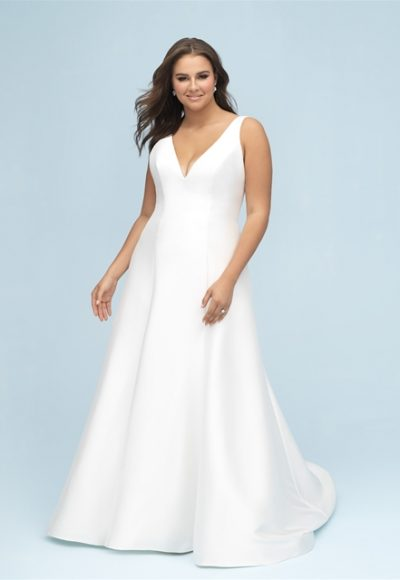 Simple Mikado V-neck A-line Wedding Dress by Allure Bridals