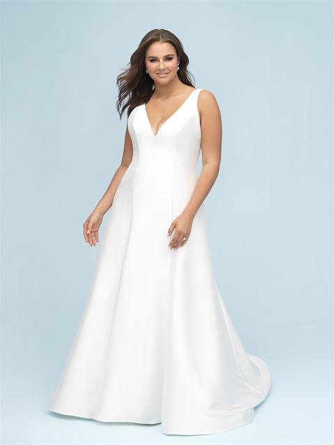 Simple Mikado V Neck A Line Wedding Dress