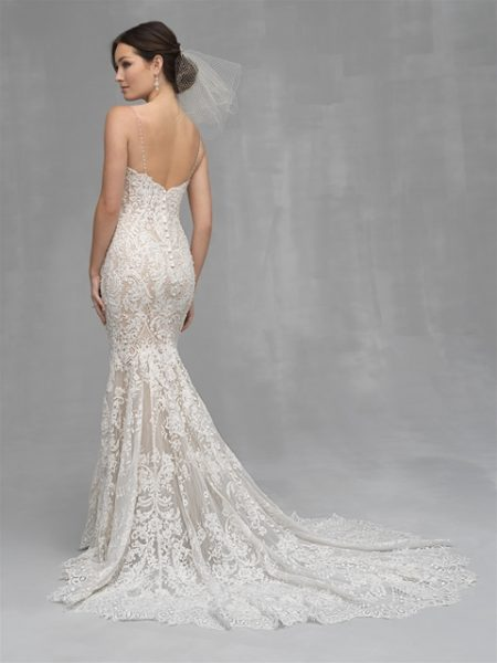 Spaghetti Strap Beaded Lace Fit And Flare Wedding Dress by Allure Bridals - Image 2
