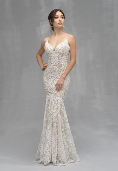Spaghetti Strap Beaded Lace Fit And Flare Wedding Dress by Allure Bridals