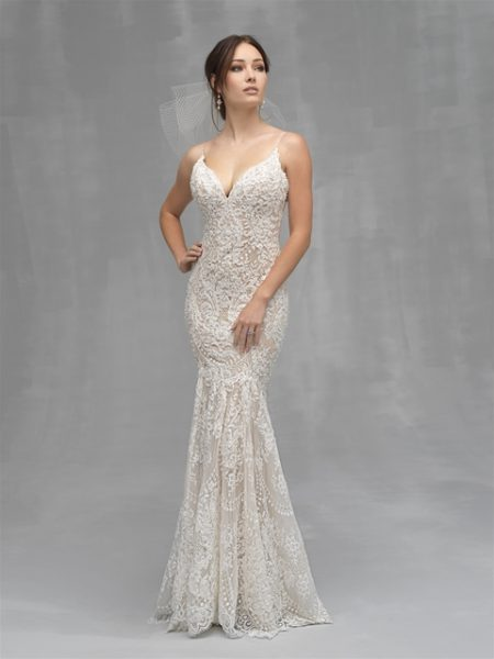 a6380bdafd98 Spaghetti Strap Beaded Lace Fit And Flare Wedding Dress by Allure Bridals -  Image 1