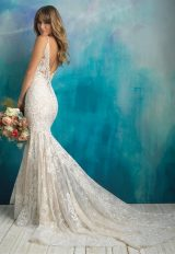 Spaghetti Strap Scalloped V-neck Beaded Lace Sheath Wedding Dress by Allure Bridals - Image 2