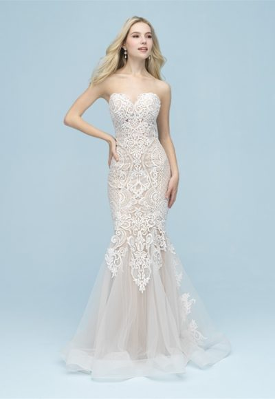 Strapless Sweetheart Lace Fit And Flare Wedding Dress by Allure Bridals