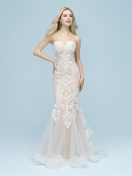 Strapless Sweetheart Lace Fit And Flare Wedding Dress by Allure Bridals - Image 1