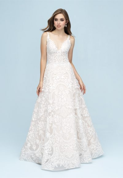 V-neck Lace A-line Wedding Dress by Allure Bridals