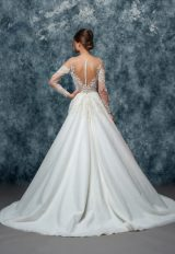 Illusion Sweetheart Neckline Long Sleeve A-line Wedding Dress by Enaura Bridal - Image 2